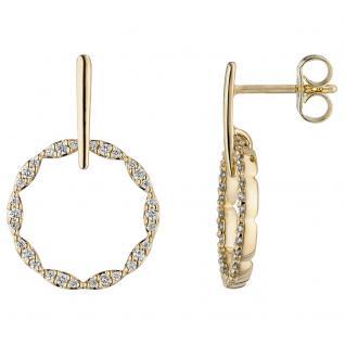 Ohrhänger 585 Gold Gelbgold 60 Diamanten Brillanten Ohrringe Diamantohrringe