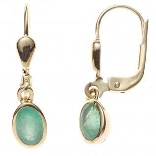 Boutons oval 585 Gold Gelbgold 2 Smaragde grün Ohrringe Ohrhänger Goldohrringe