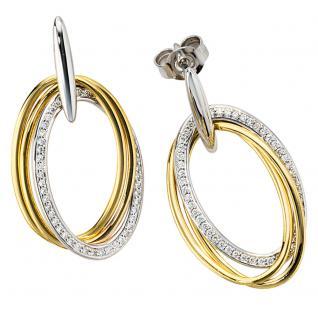 Ohrhänger oval 585 Gold Gelbgold Weißgold 100 Diamanten Brillanten Ohrringe