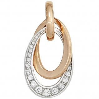 Anhänger 585 Gold Rotgold Weißgold bicolor 27 Diamanten Brillanten 0, 28ct.