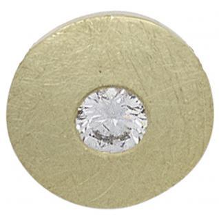 Anhänger rund 585 Gold Gelbgold eismatt 1 Diamant Brillant 0, 20ct. Goldanhänger