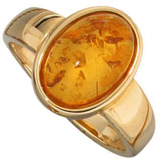 Damen Ring 585 Gold Gelbgold 1 Bernstein orange Bernsteinring Goldring - 58