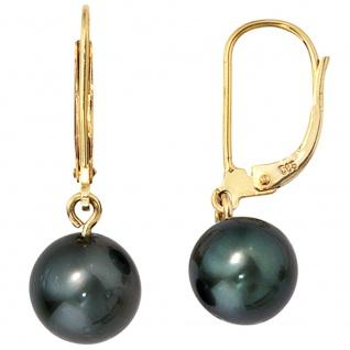 Boutons 585 Gold Gelbgold 2 Tahiti Perlen Ohrringe Ohrhänger Perlenohrringe