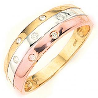 Damen Ring 333 Gold tricolor dreifarbig 7 Diamanten Brillanten Goldring - 60
