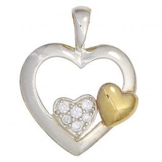 Anhänger Herz 925 Silber bicolor vergoldet mit Zirkonia Herzanhänger