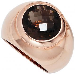 Damen Ring breit 925 Sterling Silber rotgold vergoldet 1 Rauchquarz braun