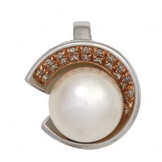 Anhänger 585 Gold Weißgold 1 Süßwasser Perle 21 Diamanten Perlenanhänger