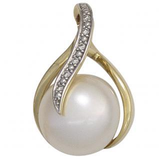 Anhänger 585 Gold Gelbgold 1 Süßwasser Perle 6 Diamanten Perlenanhänger