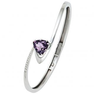 Armreif Armband 585 Gold Weißgold 12 Diamanten Brillanten Amethyst lila violett