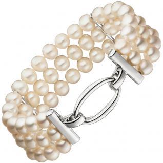 Armband 3-reihig mit Süßwasser Perlen und 925 Silber 20 cm Perlenarmband