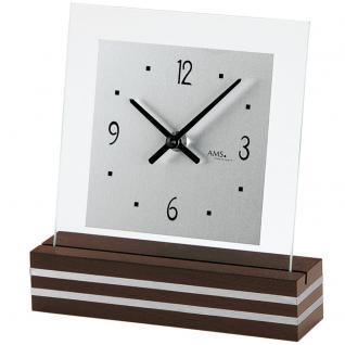 AMS 1106 Tischuhr Quarz analog modern Holz nussbaum farben mit Glas