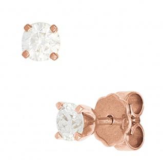 Ohrstecker rund 585 Gold Rotgold 2 Diamanten Brillanten 1, 0ct. Ohrringe