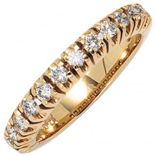 Damen Ring 585 Gold Gelbgold 13 Diamanten Brillanten 0, 50ct. Goldring - 56
