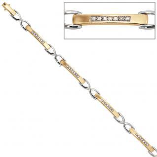 Armband 585 Gold Gelbgold Weißgold bicolor 28 Diamanten Brillanten 18 cm