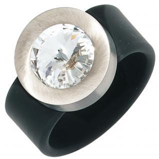 Damen Ring PVC mit Edelstahl kombiniert 1 Swarovski-Element schwarz - 60