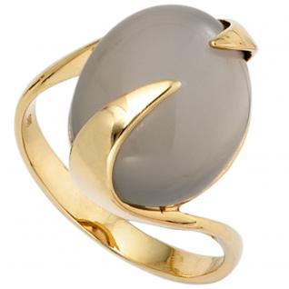 Damen Ring 585 Gold Gelbgold 1 Mondstein Goldring - 54