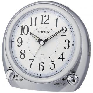 Rhythm 70633/19 Wecker Quarz analog grau silbern leise mit Licht Snooze