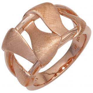 Damen Ring breit 925 Sterling Silber rotgold vergoldet mattiert Silberring