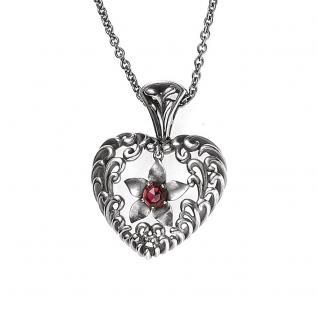 Collier Kette mit Anhänger Herz 925 Sterling Silber antik 1 Granat rot 45 cm