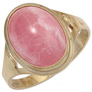 Damen Ring 585 Gold Gelbgold 1 Rhodochrosit rosa Goldring - 54