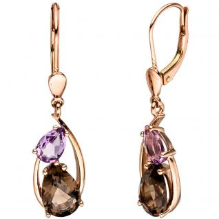 Boutons 585 Gold Rotgold 2 Rauchquarze 2 Amethyste Ohrringe Ohrhänger