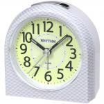 Rhythm 70854/0 Wecker Quarz weiß Carbon Optik leise ohne Ticken mit Licht Snooze