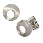 Ohrstecker rund 950 Platin mattiert 2 Diamanten Brillanten 0, 07ct. Ohrringe