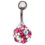 Bauchnabel Piercing 925 Silber mit Swarovski-Elements pink Stab und Kugel Titan