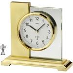 AMS 5141 Tischuhr Funk golden eckig modern messing farben mit Glas Funktischuhr