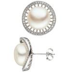 Ohrstecker 925 Sterling Silber 2 Süßwasser Perlen weiß mit Zirkonia Ohrringe