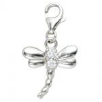 Einhänger Charm Libelle 925 Sterling Silber rhodiniert 2 Zirkonia