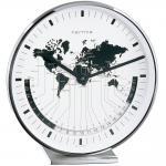 Hermle Tischuhr Quarz vernickelt mit Weltzeit-Anzeige