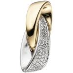 Anhänger 585 Gold Weißgold Gelbgold bicolor 50 Diamanten Brillanten 0, 20 ct.