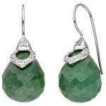 Ohrhänger 925 Sterling Silber 2 Aventurine grün mit Zirkonia Ohrringe