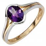 Damen Ring 585 Gold Gelbgold Weißgold bicolor 1 Amethyst lila violett Goldring