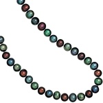 Collier Perlenkette Süßwasser Perlen mullticolor bunt 45 cm Halskette Kette