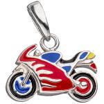 Kinder Anhänger Motorrad 925 Silber Lackeinlagen rot / blau Kinderanhänger
