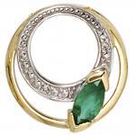 Anhänger rund 585 Gold Gelbgold 2 Diamanten 0, 01ct. 1 Smaragd grün Goldanhänger