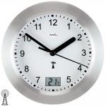 AMS 5923 Wanduhr Baduhr Badezimmeruhr Funk silbern wasserdicht mit Thermometer