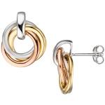 Ohrstecker verschlungen 925 Silber tricolor dreifarbig vergoldet Ohrringe