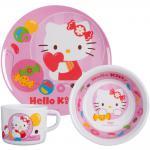 Hello Kitty Kinder Frühstücks-Set 3-teilig aus Melamin Kindergeschirr