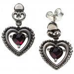 Ohrhänger Herz Herzen 925 Sterling Silber 2 Granate rot Ohrringe Ohrstecker