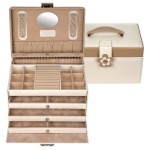 Sacher Schmuckkoffer Schmuckkasten BELLA FIORE beige abschließbar Schubladen