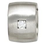 Anhänger 925 Sterling Silber rhodiniert mattiert 1 Diamant Brillant 0, 05ct.