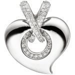Anhänger Herz 925 Sterling Silber mit Zirkonia Herzanhänger Silberherz