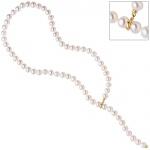 Perlenkette mit Süßwasser Perlen Clip und Endteil aus 585 Gold Länge variabel