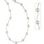 Collier Perlenkette 585 Gold Gelbgold mit Süßwasser Perlen 45 cm Halskette Kette