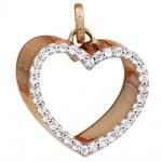 Anhänger Herz 585 Gold Rotgold 34 Diamanten Brillanten Herzanhänger
