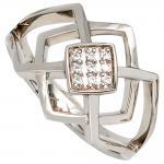 Damen Ring 585 Gold Weißgold 9 Diamanten Brillanten 0, 05ct. Goldring