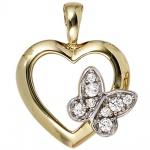 Anhänger Herz Schmetterling 333 Gold Gelbgold 8 Zirkonia Herzanhänger